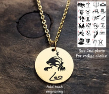 Load image into Gallery viewer, Gold Zodiac Necklace-JazzieJ'sJewelry