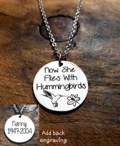 Personalized Hummingbird Necklace-JazzieJ'sJewelry
