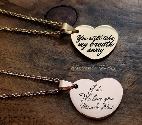 Heart Handwritten Necklace-JazzieJ'sJewelry