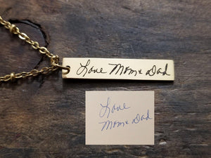 Gold Handwritten Bar Necklace-JazzieJ'sJewelry