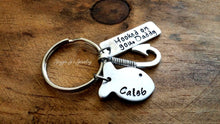 Load image into Gallery viewer, Personalized Hooked On You Daddy Keychain-JazzieJ'sJewelry