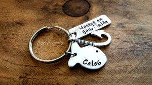 Personalized Hooked On You Daddy Keychain-JazzieJ'sJewelry