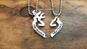 Her Buck His Doe Necklace Set-JazzieJ'sJewelry