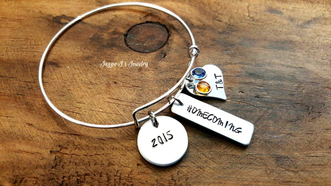 Personalized Homecoming Bangle Bracelet-JazzieJ'sJewelry