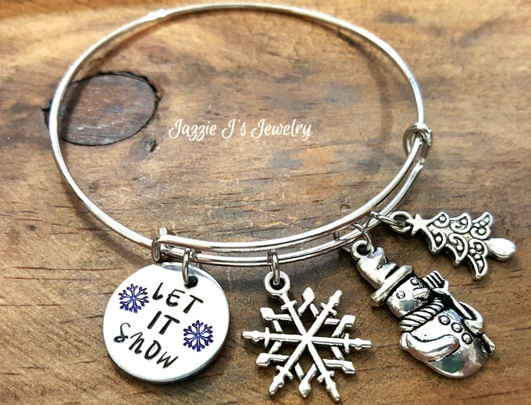 Let It Snow Winter Bangle Bracelet-JazzieJ'sJewelry