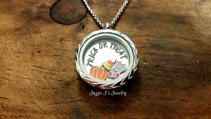 Halloween Floating Locket Necklace-JazzieJ'sJewelry