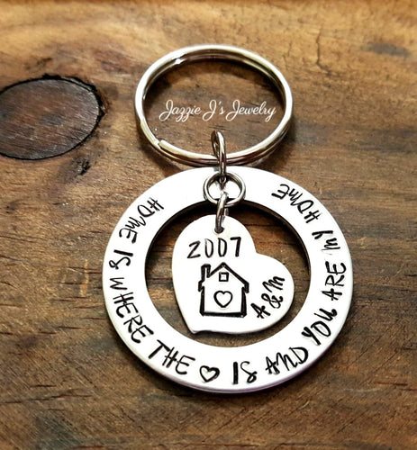 Home Is Where The Heart Is Personalized Keychain-JazzieJ'sJewelry