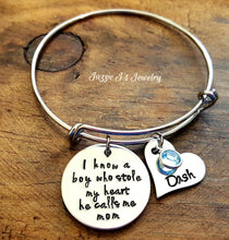 Load image into Gallery viewer, There's This Boy Who Stole My Heart He Calls Me Mom Bangle-JazzieJ'sJewelry