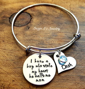 There's This Boy Who Stole My Heart He Calls Me Mom Bangle-JazzieJ'sJewelry