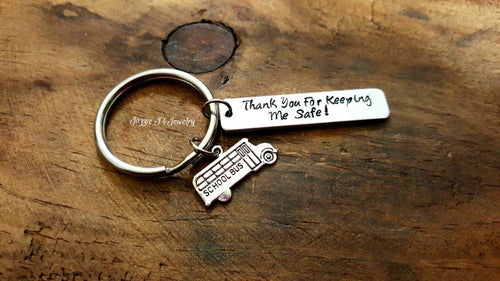 Thank You For Keeping Me Safe Bus Driver Keychain-JazzieJ'sJewelry