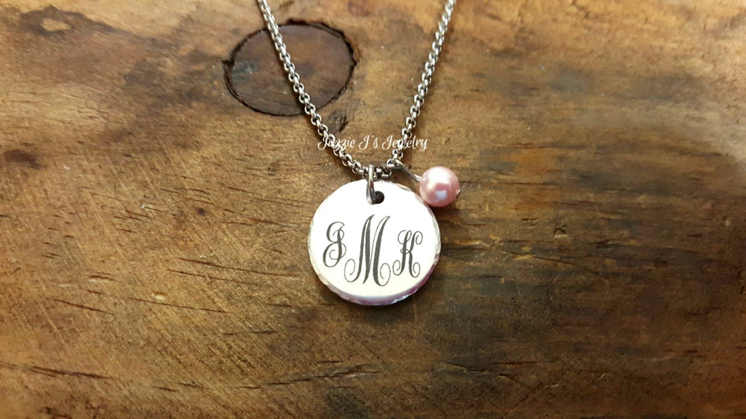 Initial Monogram Necklace-JazzieJ'sJewelry