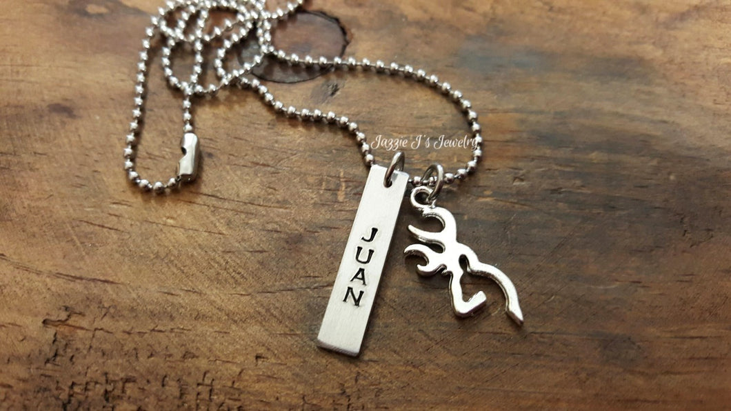 Personalized Deer Necklace-JazzieJ'sJewelry