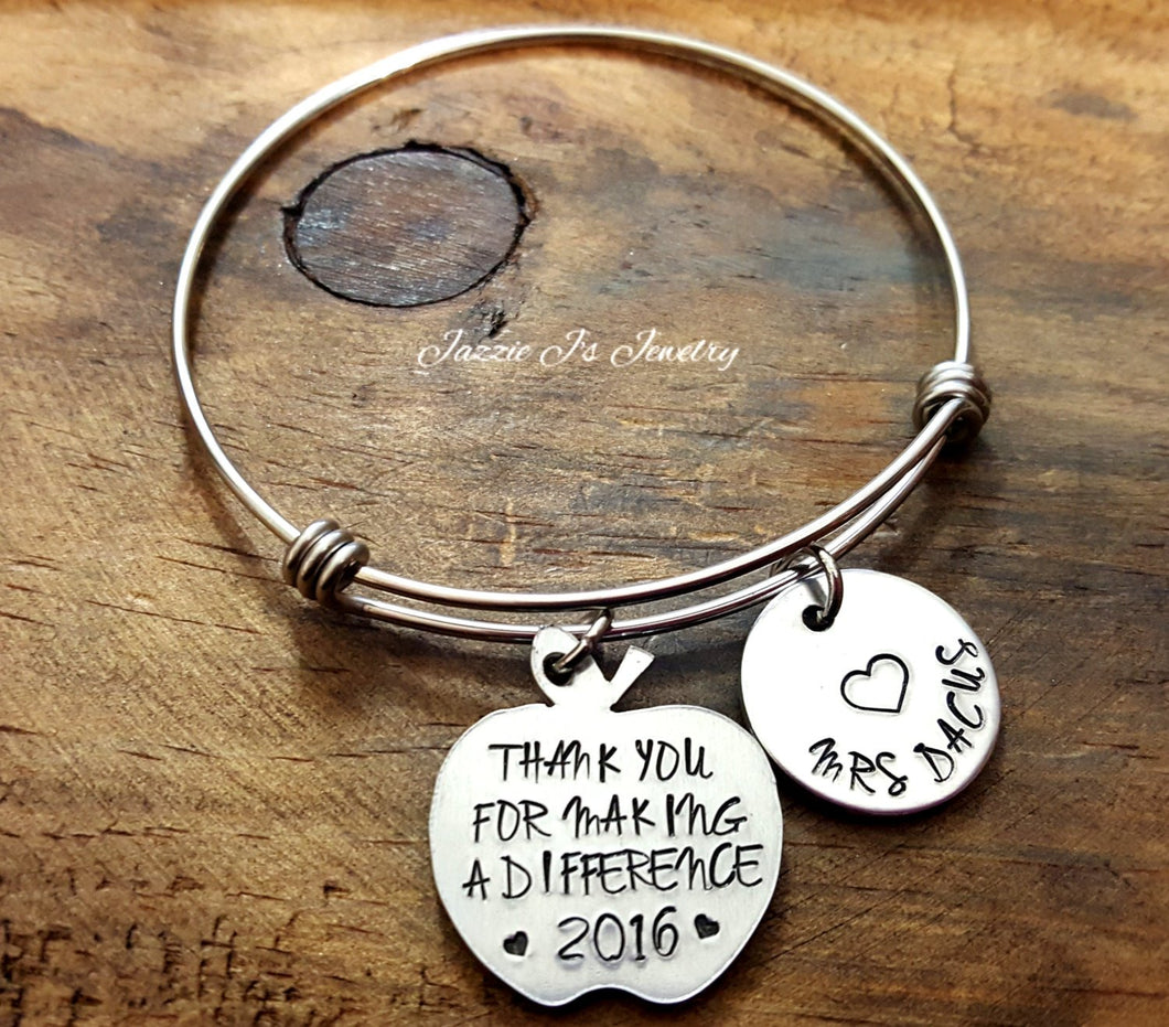 Thank You For Making A Difference Teacher Bangle-JazzieJ'sJewelry