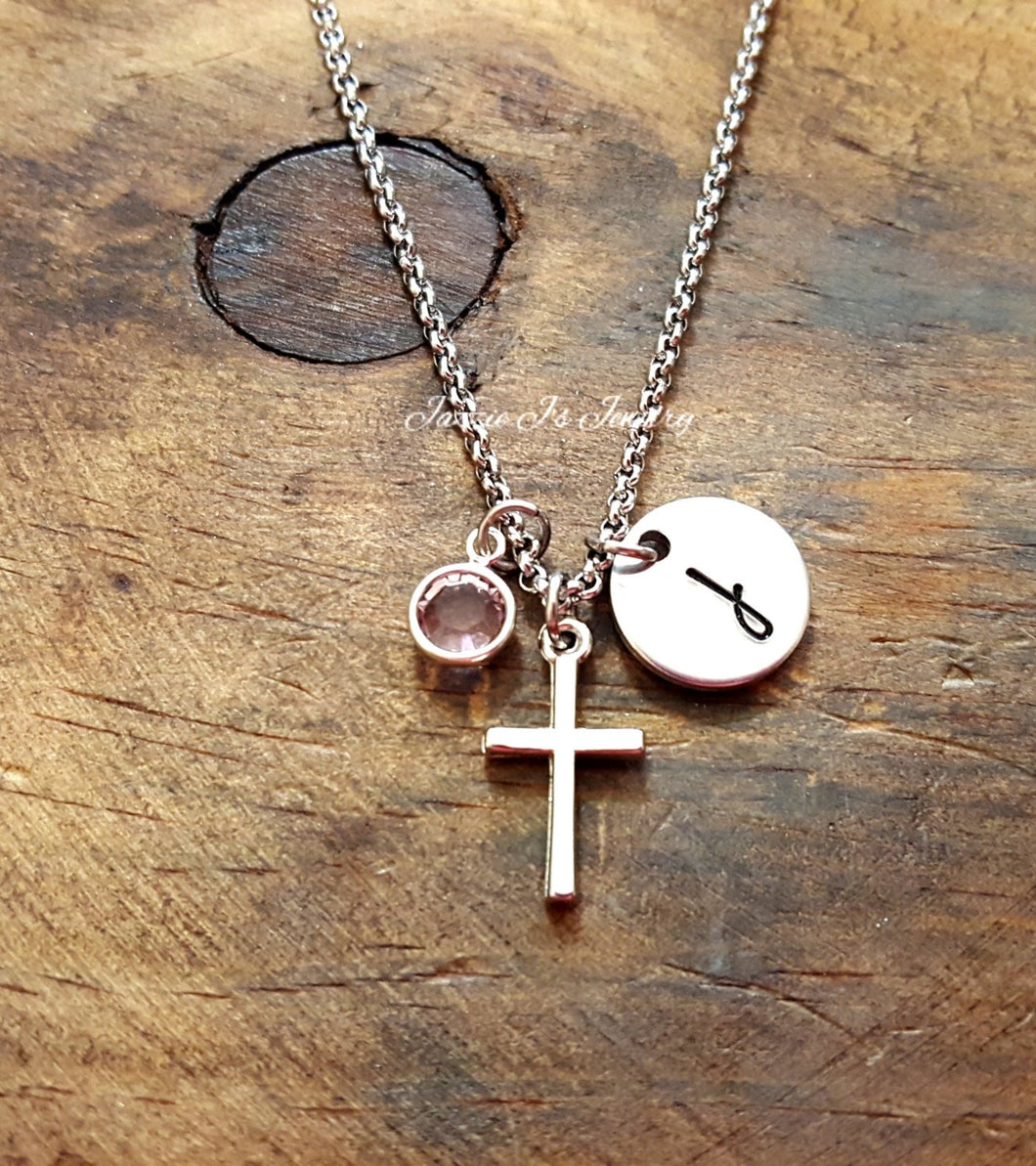 Personalized Initial Cross Necklace-JazzieJ'sJewelry