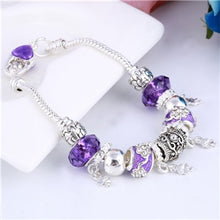 Load image into Gallery viewer, ZOSHI Pink Crystal Charm Silver Bracelets & Bangles for Women With Aliexpress Murano Beads Silver Bracelet Femme Jewelry