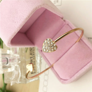 Hot New Fashion Adjustable Crystal Double Heart Bow Bilezik Cuff Opening Bracelet For Women Jewelry Gift