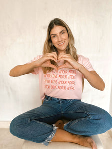 LOVE AMOR AMOUR AMORE - CAMISETA MUJER
