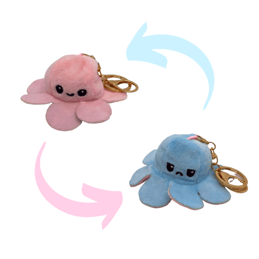 Pink and blue colour of reversible octopus plush keychains.