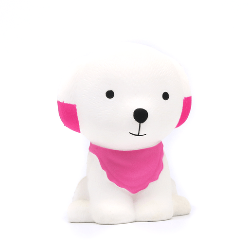 A white dog squishy with a pink bandana and pink in its bottom ears.