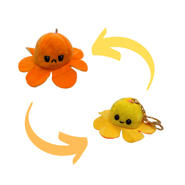 orange and yellow colour of reversible octopus plush keychains.