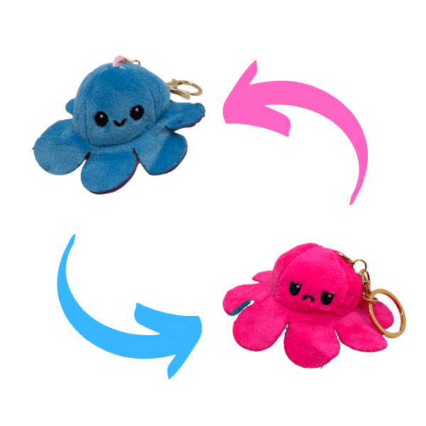 Bright pink and blue colour of reversible octopus plush keychains.