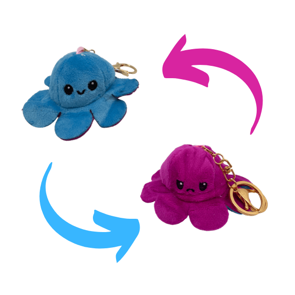 Purple and blue colour of reversible octopus plush keychains.