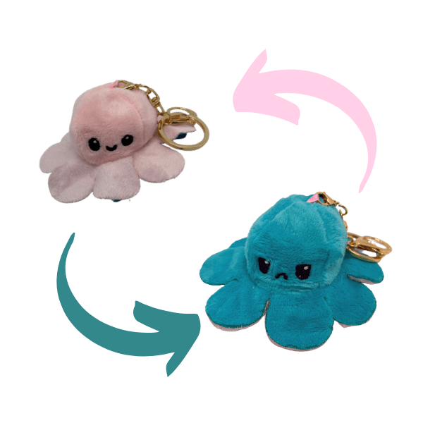 Pink and forest colour of reversible octopus plush keychains.