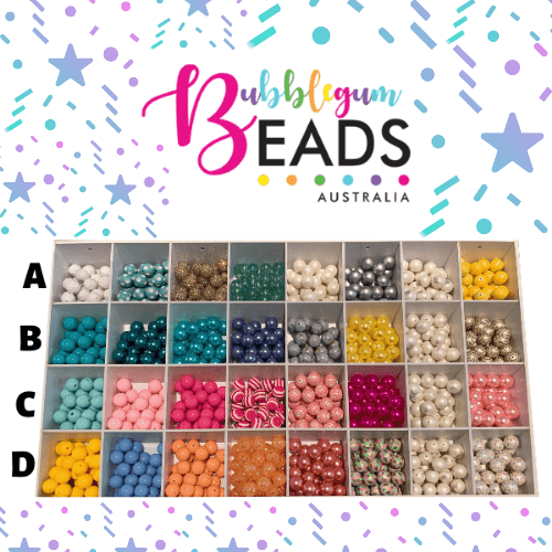 Colourful beads in rows, to customise colour choices and designs.