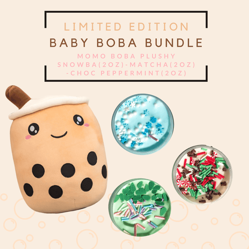 A light brown boba plushy with three boba mini slimes