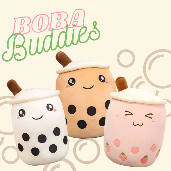 Three boba buddies: white, pink and light brown