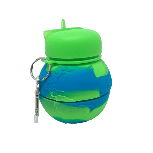 Earth shaped collapsible drink bottle with blue and green earth pattern, flippable spout and can collapse to half size.