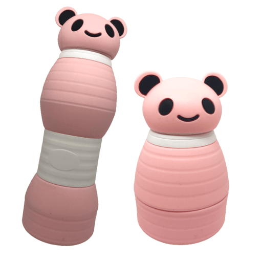 Pink Silicon Water Bottles With Collapsible Panda Lids