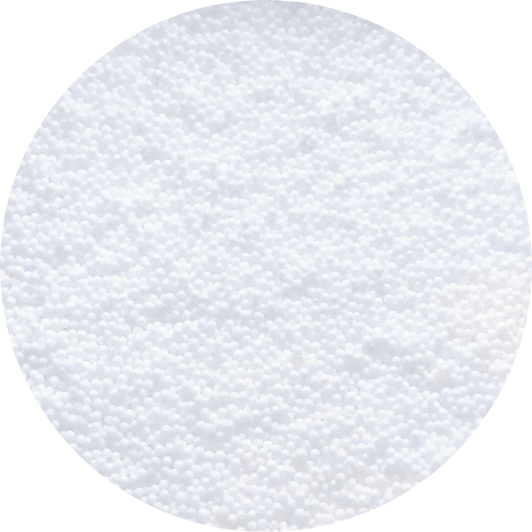 Many micro white foam beads