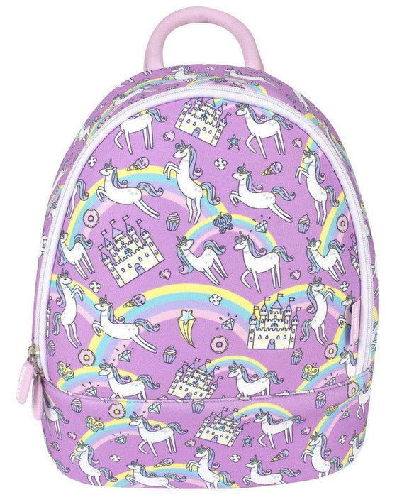 Medium purple backpack with a unicorn, castle and rainbow pattern