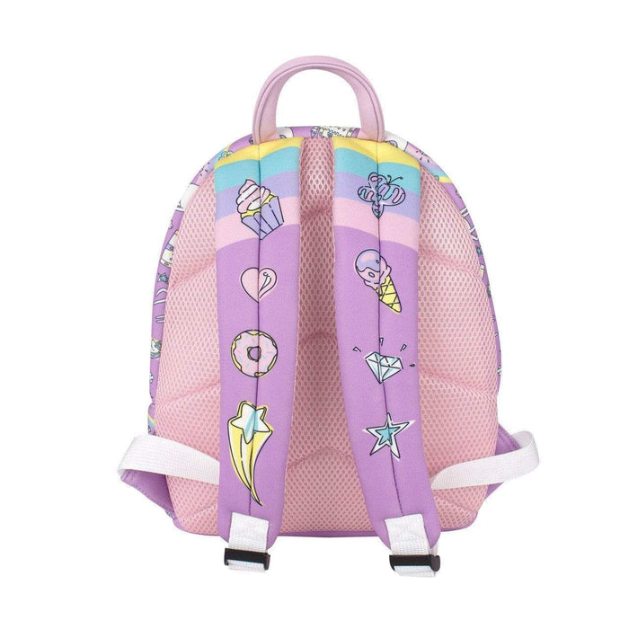 The back of a medium unicorn backpack. Pink fabric with two purple straps with stars, cupcakes, donuts and ice cream sketches.