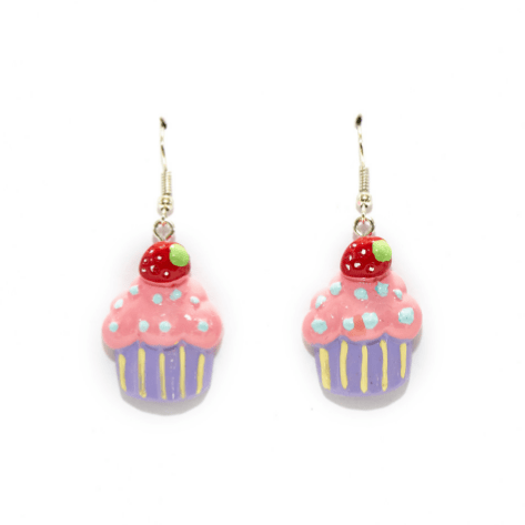 A pair of cupcake shaped earrings with pink and purple details