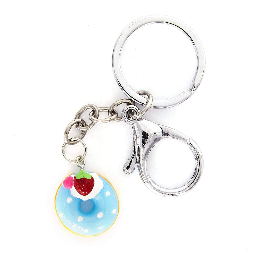 Blue donut with a strawberry keyring