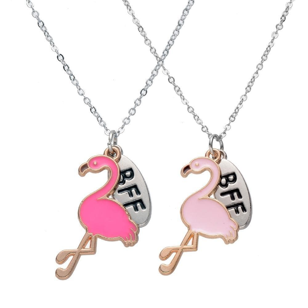 Two pink flamingo and BFF necklaces.