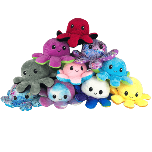 Ten octopus plushies in different colours and textures arranged in a pyramid shape
