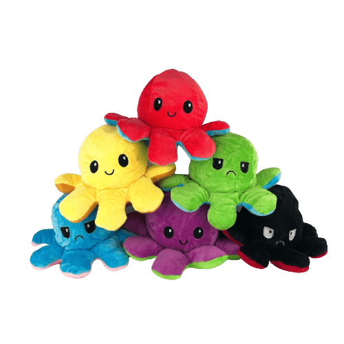 Six octopus plushies in different colours: blue, purple, black yellow, green and red.