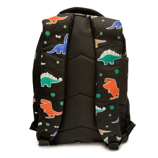 The back of the Prehistoric party backpack with 2 black straps with dinosaur pattern