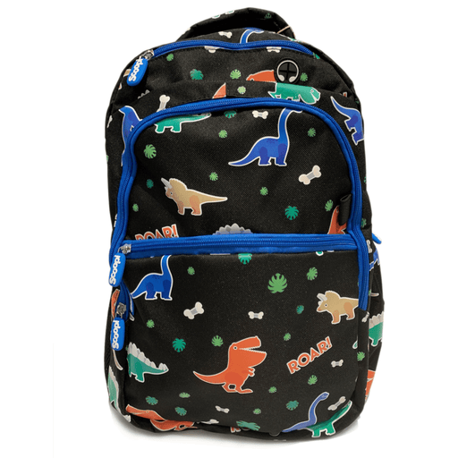 Black prehistoric backpack with dinosaur pattern and blue zipper