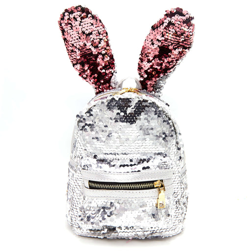 Silver backpack with sequins in the shape of a rabbit with pink ears and a front golden zipper