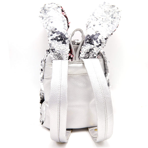 The back of a silver rabbit backpack and the back of 2 rabbit ears with silver sequins.