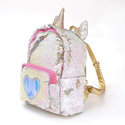 Mr Unicorn backpack from a side. Silver sequins with golden straps