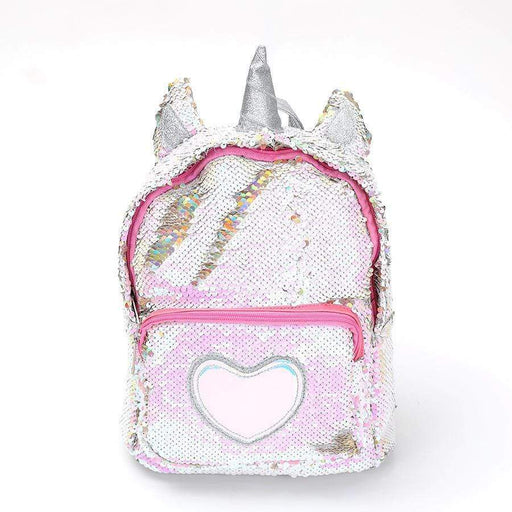 Silver unicorn backpack with sequins, pink zipper and a front pocket with a silver heart.