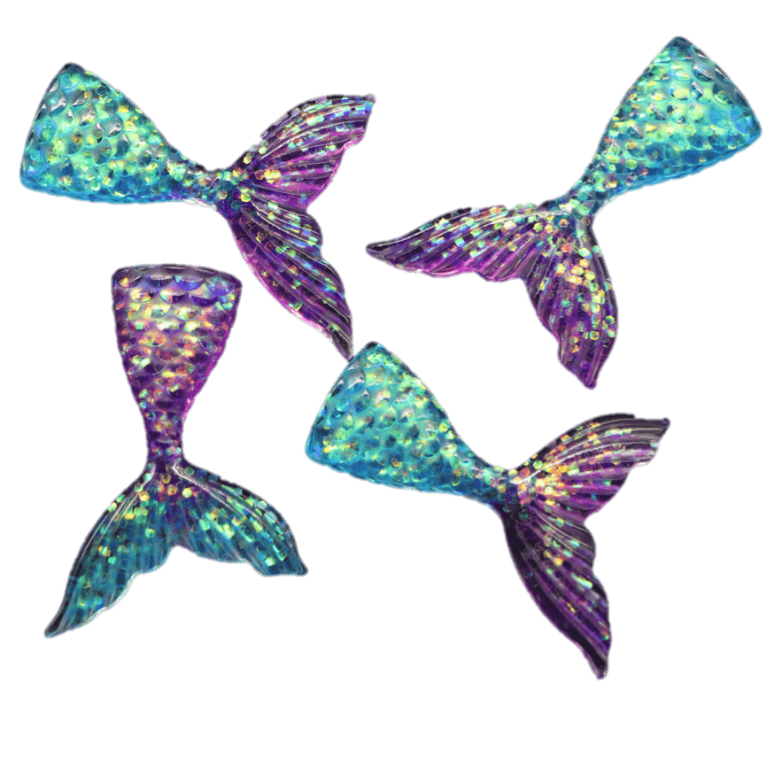 Four multicoloured iridescent mermaid tail charms