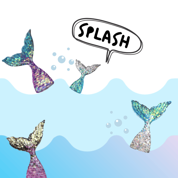 Four multicoloured mermaid tail charms with ocean waves in the background and a speech bubble with the word splash