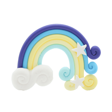 A yellow and blue rainbow charm with two white stars and a cloud