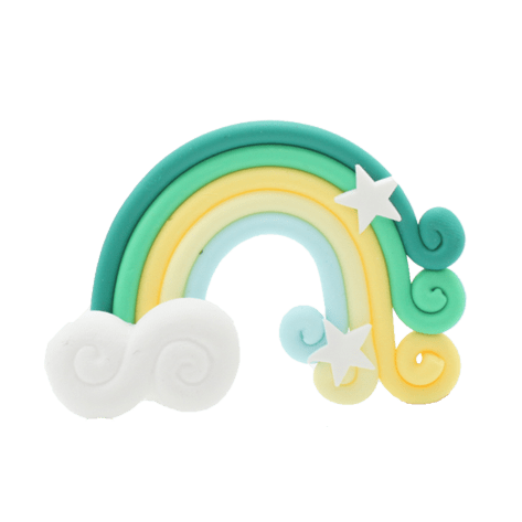 A green and yellow rainbow charm with two white stars and a cloud